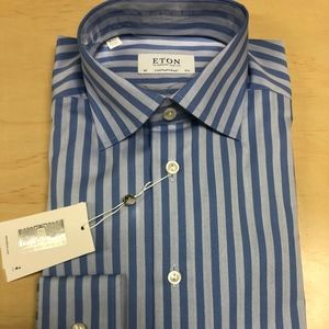 Eton Blue Bankers Striped Dress Shirt Contemporary